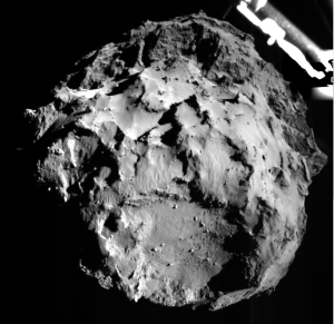 Philae se spušča proti površju kometa (Vir: (c) ESA/Rosetta/Philae/ROLIS/DLR)