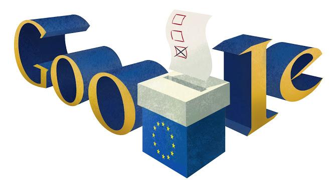 """Googlov """"Doodle"""" objavljen v času letošnjih volitev v Evropski parlament (Vir: (c) Google Inc.)"""