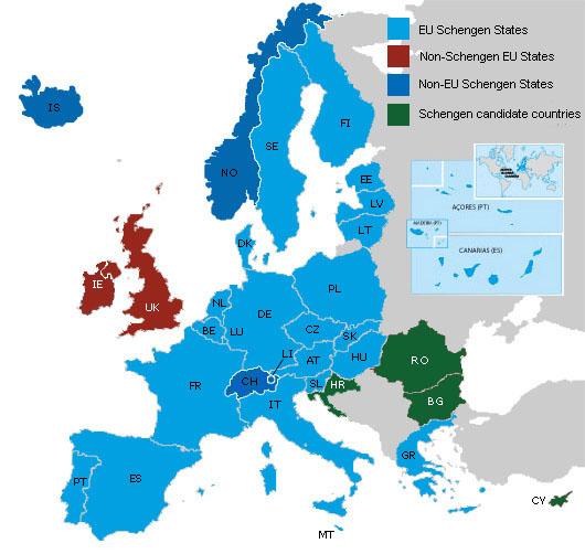 Schengensko območje (Vir: (c) Evropska komisija - GD za notranje zadeve)