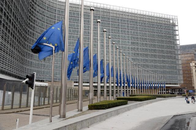 Zastave na pol droga pred Evropsko komisijo v Bruslju (Vir: (c) European Union, 2015)